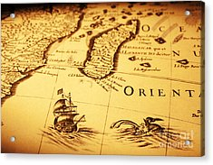 Old Map Sea Monster Sailing Ship Africa Madagascar Acrylic Print by Colin and Linda McKie