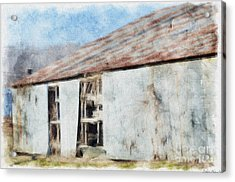 Old Metel Shed Painted Effect Acrylic Print by Debbie Portwood