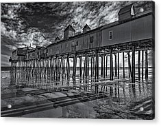 Old Orchard Beach Pier Bw Acrylic Print by Susan Candelario