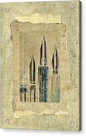 Old Pens Old Papers Acrylic Print by Carol Leigh