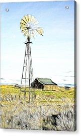 Old Ranch Windmill Acrylic Print by Steve McKinzie