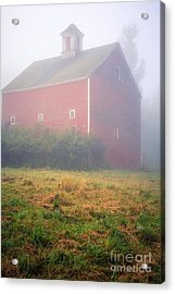Old Red Barn In Fog Acrylic Print by Edward Fielding