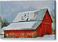 Old Red Barn In Winter Acrylic Print by Dan Sproul