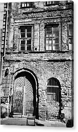 Old Red Brick Crumbling Building In Kazimierz District With Plaster Facade Removed To Expose Brickwork Krakow Acrylic Print by Joe Fox