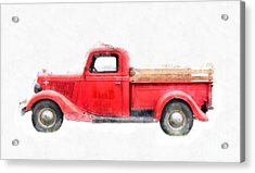 Old Red Ford Pickup Acrylic Print by Edward Fielding