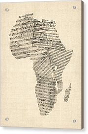Old Sheet Music Map Of Africa Map Acrylic Print by Michael Tompsett