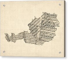 Old Sheet Music Map Of Austria Map Acrylic Print by Michael Tompsett