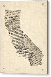 Old Sheet Music Map Of California Acrylic Print by Michael Tompsett