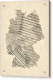 Old Sheet Music Map Of Germany Map Acrylic Print by Michael Tompsett