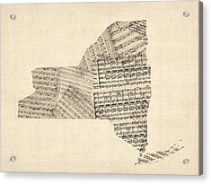 Old Sheet Music Map Of New York State Acrylic Print by Michael Tompsett