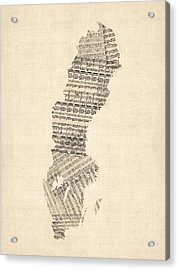 Old Sheet Music Map Of Sweden Acrylic Print by Michael Tompsett