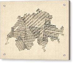 Old Sheet Music Map Of Switzerland Map Acrylic Print by Michael Tompsett