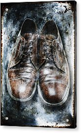 Old Shoes Frozen In Ice Acrylic Print by Skip Nall