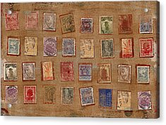 Old Stamp Collection Acrylic Print by Carol Leigh