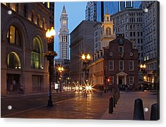 New England Acrylic Print featuring the photograph Old State House And Custom House In Boston by Juergen Roth