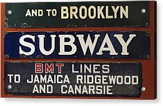 Old Subway Signs Acrylic Print by Dave Mills