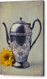 Old Teapot With Sunflower Acrylic Print by Garry Gay