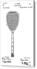 Old Tennis Racket Patent Acrylic Print by Dan Sproul