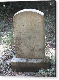 Old Tombstone  Acrylic Print by Cathy Lindsey