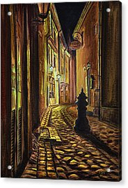 Old Town Street At Night Acrylic Print by Gynt Art
