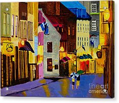Acrylic Print featuring the painting Old Towne Quebec by Rodney Campbell