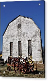Old Tractor In Front Of Hay Barn Acrylic Print by Bill Cannon