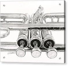 Old Trumpet Valves Acrylic Print by Sarah Batalka