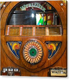 Old Vintage Wurlitzer Jukebox Dsc2824 Square Acrylic Print by Wingsdomain Art and Photography
