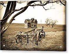 Old Wagon And Homestead Acrylic Print by Athena Mckinzie