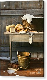Old Wash Tub With Soap And Scrub Brushes Acrylic Print by Sandra Cunningham