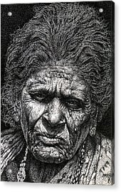 Old Woman In Sad Acrylic Print by Johnson Moya