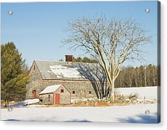Old Wood Shingled Barn In Winter Maine Acrylic Print by Keith Webber Jr