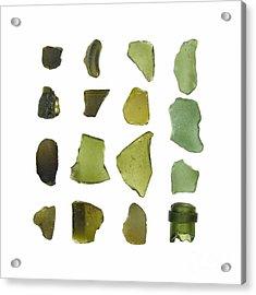 Olive Green Sea Glass Acrylic Print by Jennifer Booher