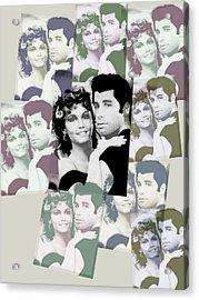 Olivia Newton John And John Travolta In Grease Collage Acrylic Print by Tony Rubino