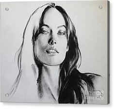 Olivia Wilde Acrylic Print by Miguel Lopez