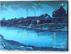 Omori Beach At Night Acrylic Print by Pg Reproductions