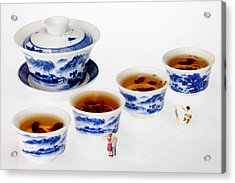 On Porcelain Ink Painting Exhibition Little People On Food Acrylic Print by Paul Ge