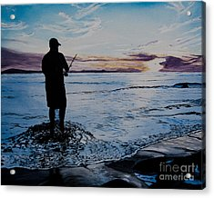 On The Beach Fishing At Sunset Acrylic Print by Ian Donley