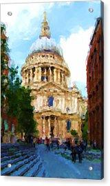 On The Steps Of Saint Pauls Acrylic Print by Jenny Armitage