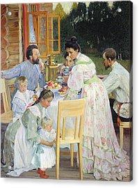 On The Terrace, 1906 Oil On Canvas Acrylic Print by Boris Mikhailovich Kustodiev