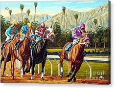 On The Turf At Santa Anita Acrylic Print by Tom Chapman