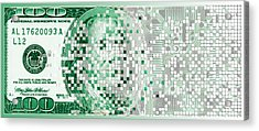 One Hundred Dollar Bill Turning Digital Acrylic Print by Panoramic Images