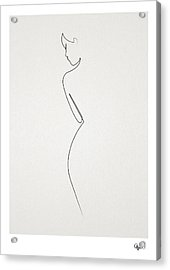 One Line Nude Acrylic Print by Quibe