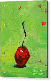 One Little Cherry - Modern Art Acrylic Print by Patricia Awapara
