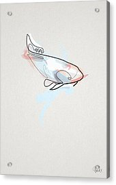 oneline Fish Koi Acrylic Print by Quibe