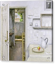 Open Doors With Still Life And Letter Acrylic Print by Charles E Hardaker