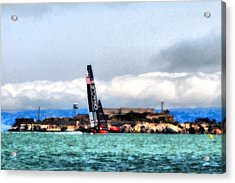 Oracle Team Usa And Alcatraz Acrylic Print by Michelle Calkins