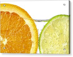 Orange And Lime Slices In Water Acrylic Print by Elena Elisseeva