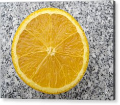 Orange Cut In Half Grey Background Acrylic Print by Matthias Hauser