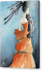 Orange Evening Gown With Black Fashion Illustration Art Print Acrylic Print by Beverly Brown Prints